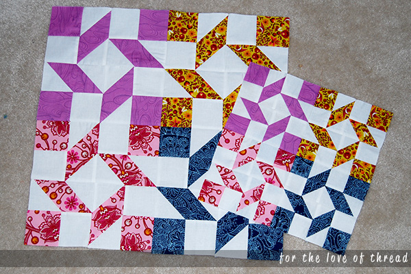 A picture of the large and small Watermelon Wheel blocks for the Clementine Quilt Along.