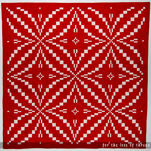 King's Puzzle Quilt, a red and white bargello