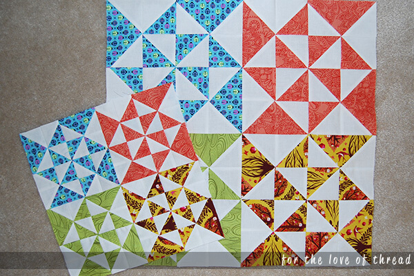 small and large finished quilt blocks