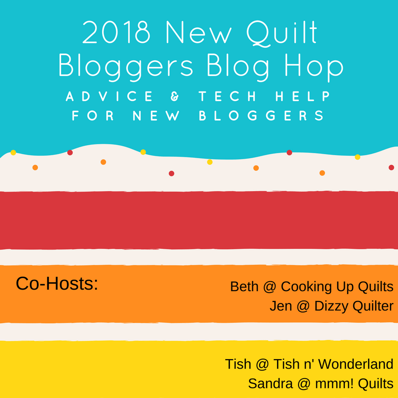 2018 new quilt bloggers blog hop button with host web site information