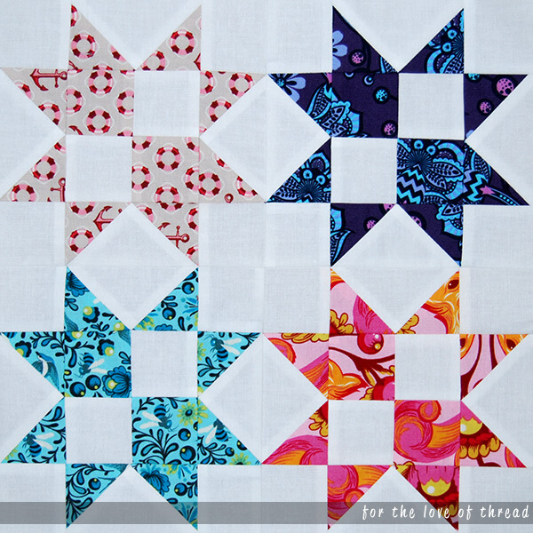 strawberry star quilt block