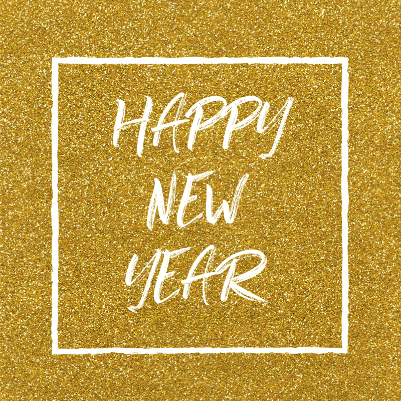 happy new year on gold glitter background