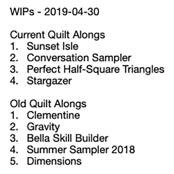 list of quilt projects