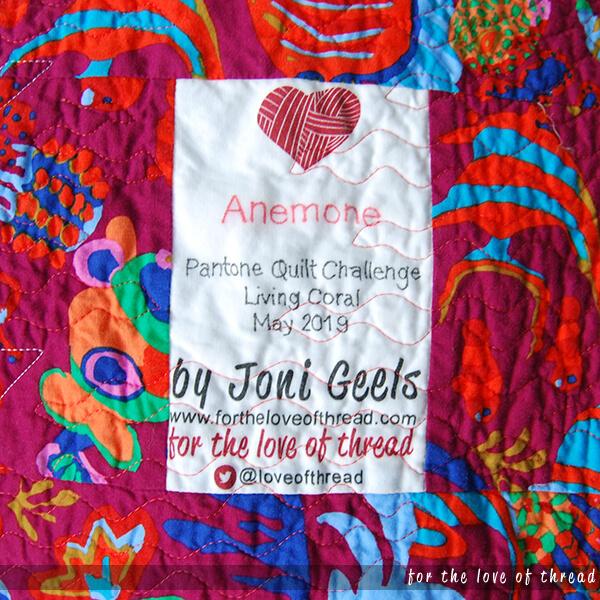 anemone quilt label