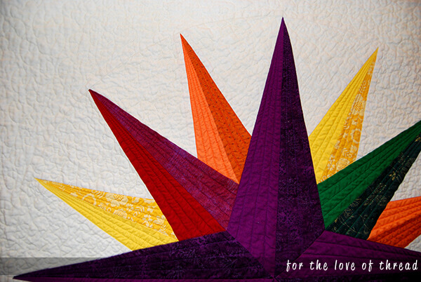 close up of star quilt block