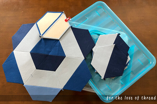 blue and gray EPP blocks