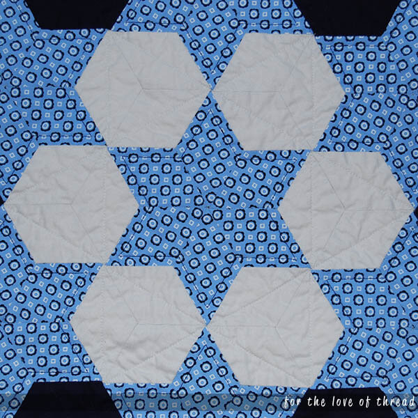 quilt detail in gray hexagons