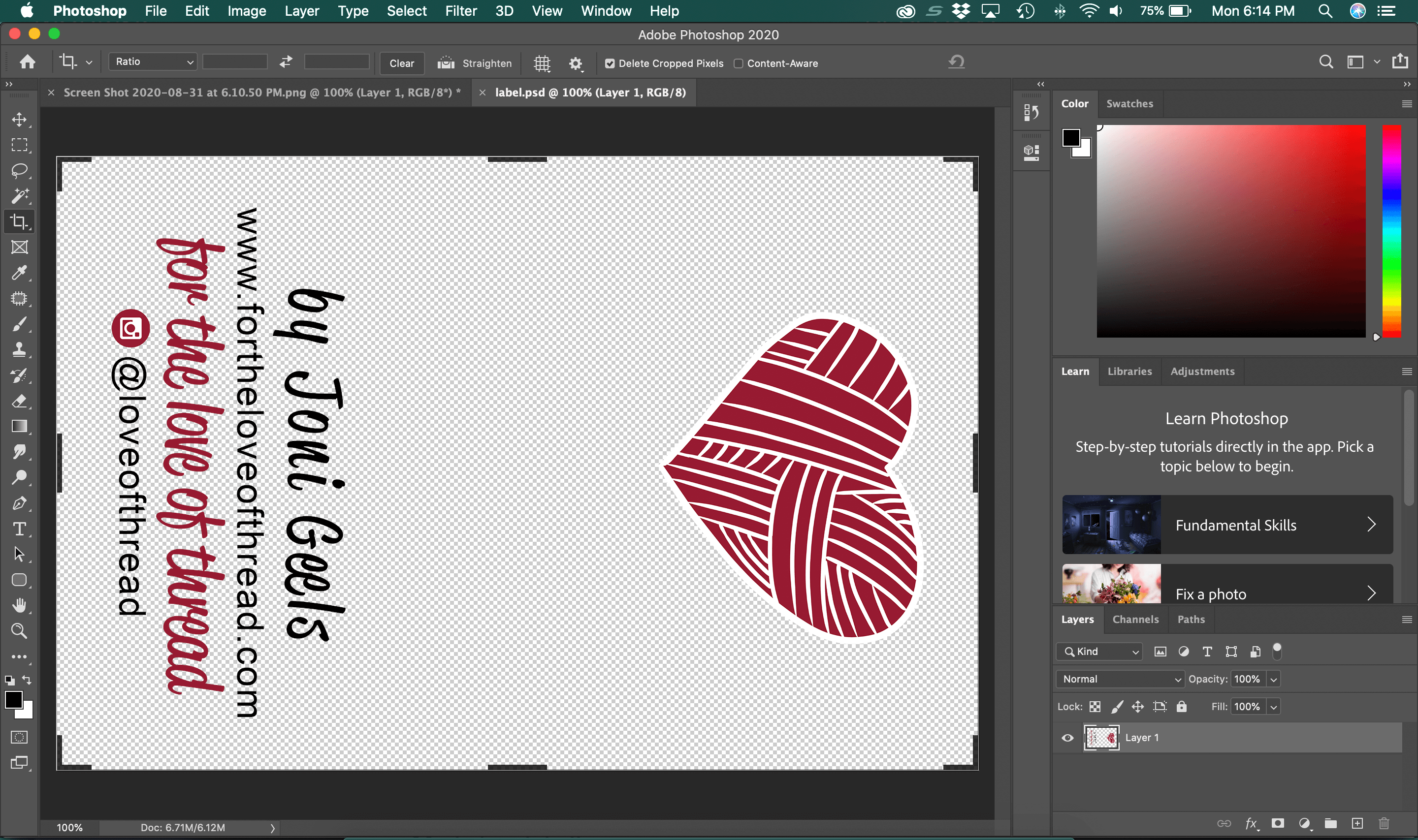 screen shot of my label in Photoshop