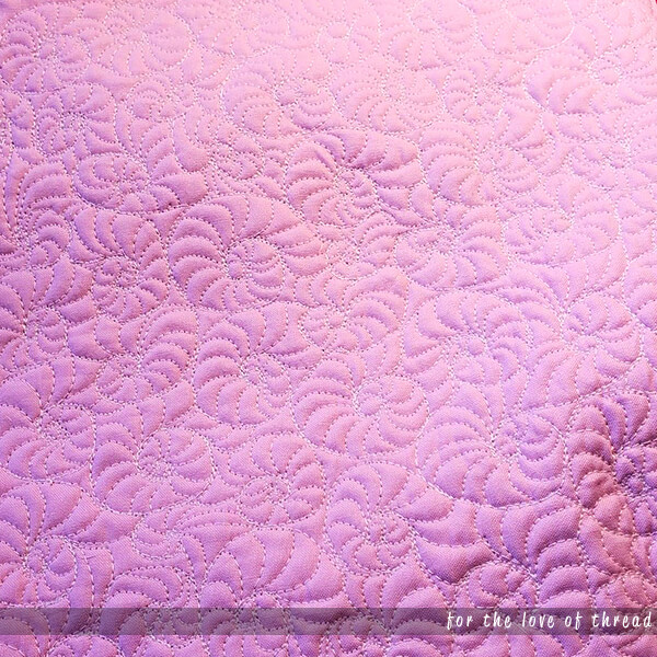 close up of filled swirls quilting motif