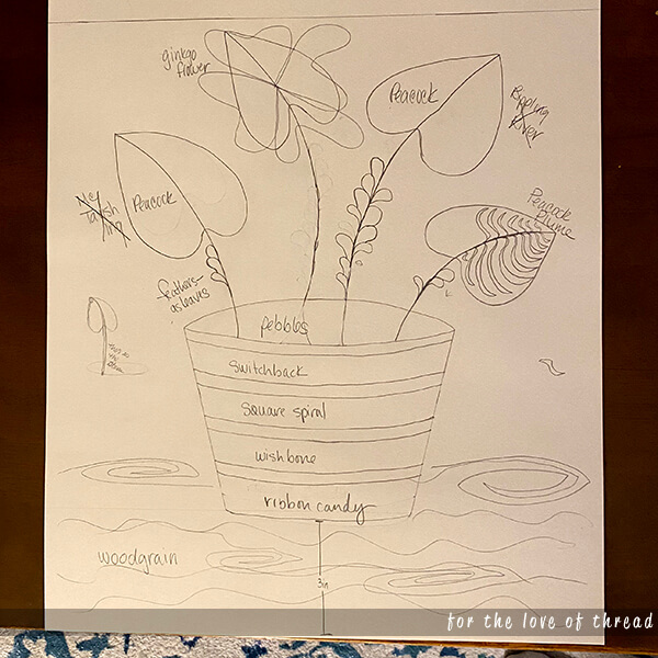 draft drawing of my final project of a pot of flowers on a table