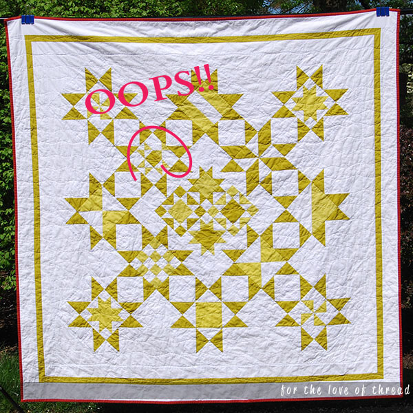Wasabi Pickle quilt pointing out a piecing error