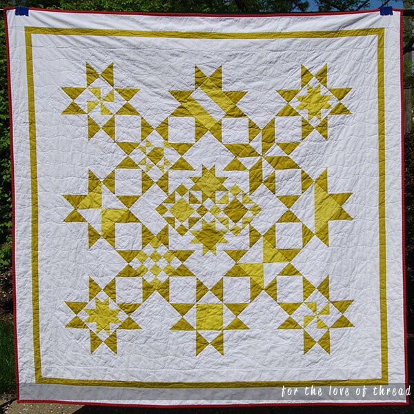 Picture of Wasabi Pickle, a two-toned green and white quilt.