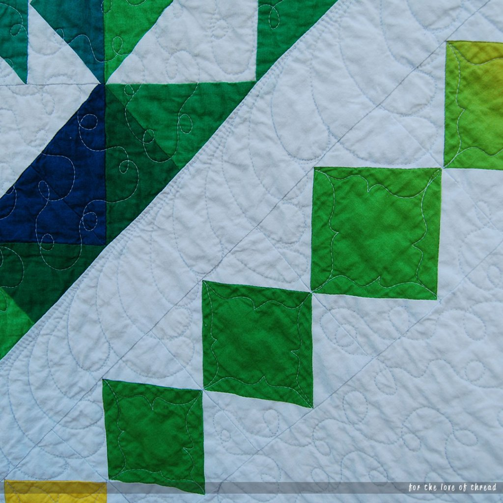 close up of bump-back feathers quilted into dimensions quilt