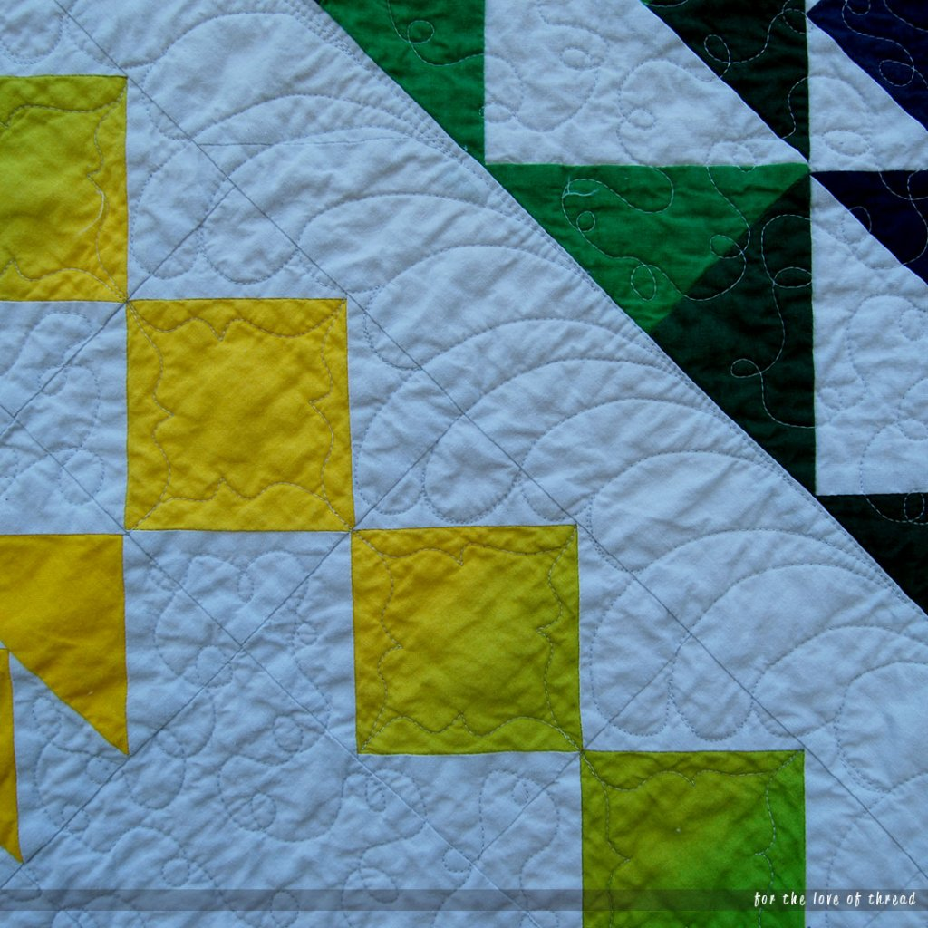 close up of continuous curves quilting